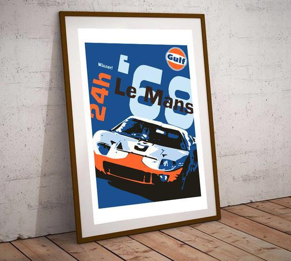 Art Deco Le Mans Gulf GT40 1968 Winner Poster