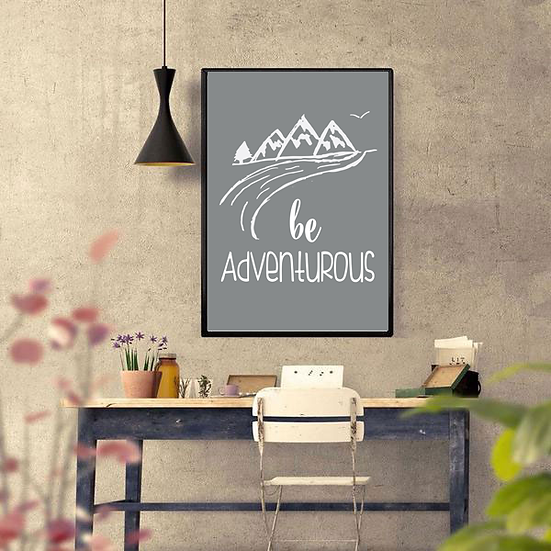 Be Adventurous Art Deco Inspirational Poster in Grey
