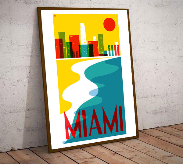 Art Deco Miami USA Coastline Travel Poster
