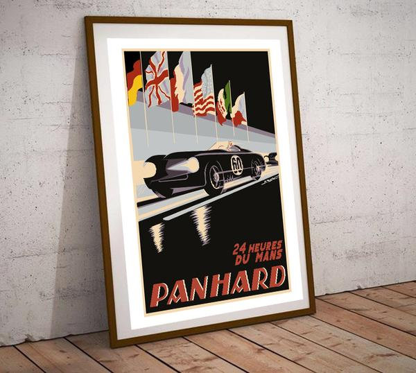 Art Deco 24Hrs Du Mans Panhard Poster