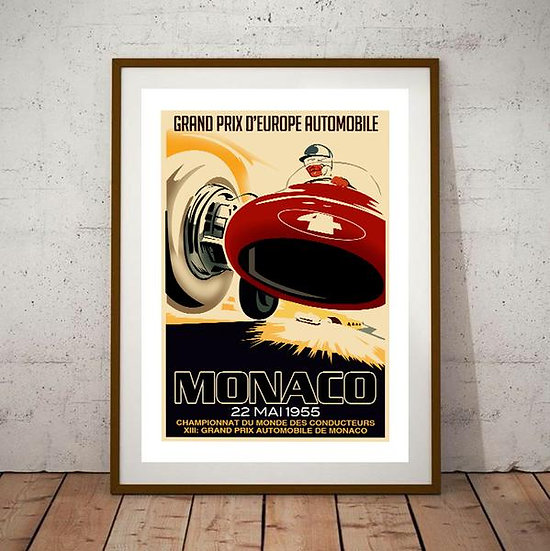 Art Deco Monaco 1955 Grand Prix Poster