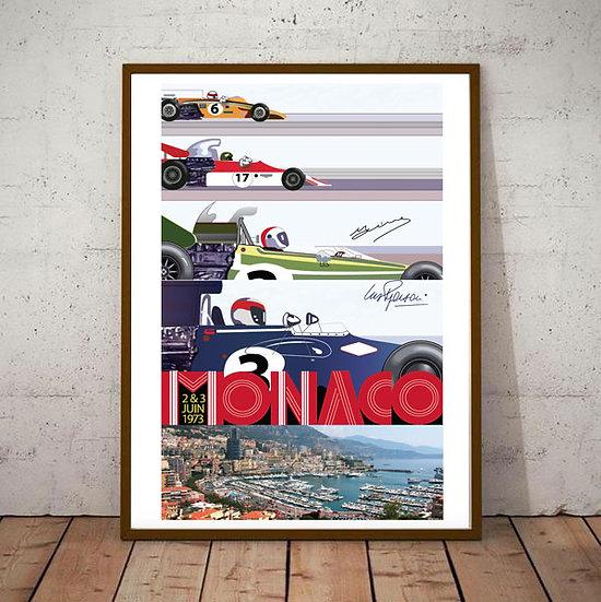 Art Deco Monaco 1973 Grand Prix Poster