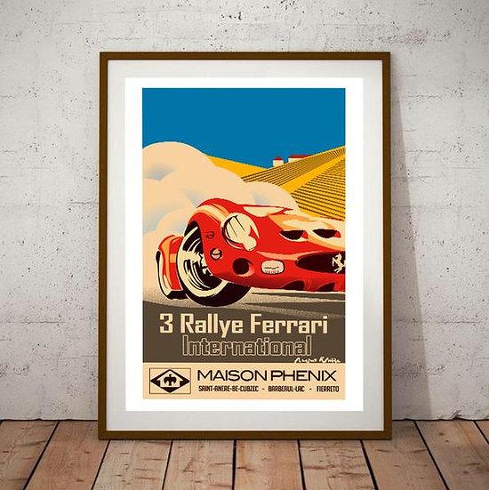 Art Deco 3 Rallye Ferrari International Poster
