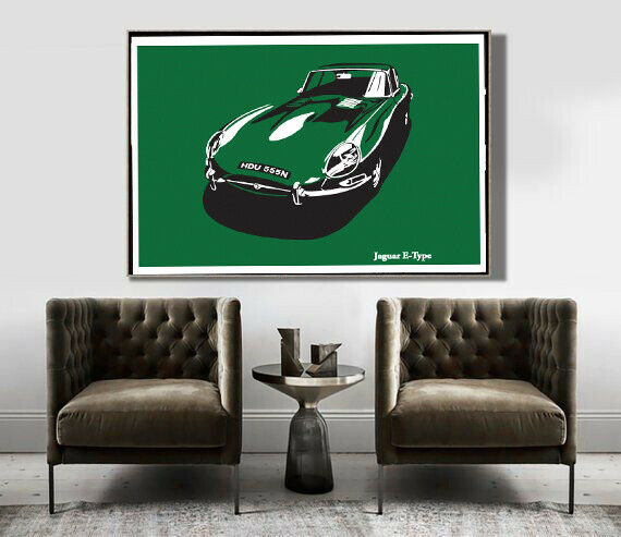 Art Deco Poster Jaguar E Type Series 1