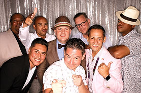 photo booth rental silver backdrop