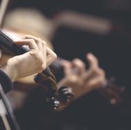 바이올린의 문자열에 소녀의 손