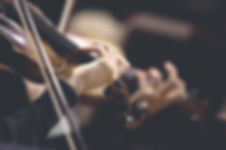 The girl's hand on the strings of a violin