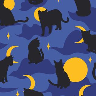 Motif Chats Nocturnes Adeline Waeles Design