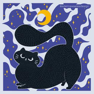 Illustration Chat Dodu Nuit Etoilée Adeline Waeles Design