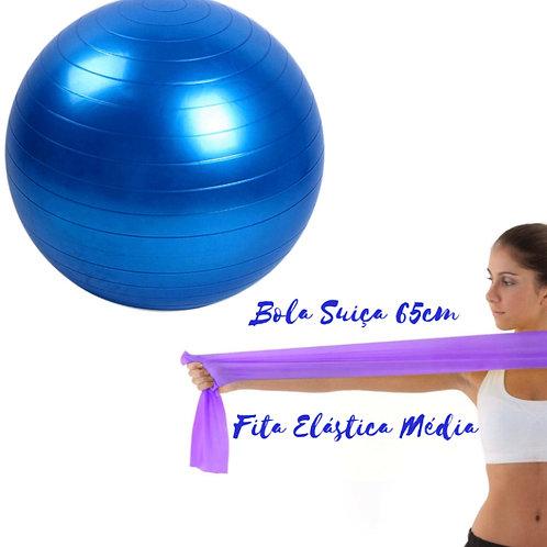 Bola Suiça 65cm + Faixa Elástica Média