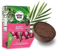 Box of 60 count sea salt truffles with an enlarged truffle in front of it and frond in the back.