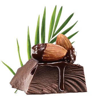 Image of a chunk of chocolate with almonds dipped in melted chocolate and salt on top of it.
