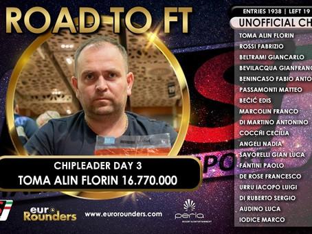 IPS Nova Gorica, Toma monster chip leader del final day da 18 left! Rossi insegue ma a 7 milioni!