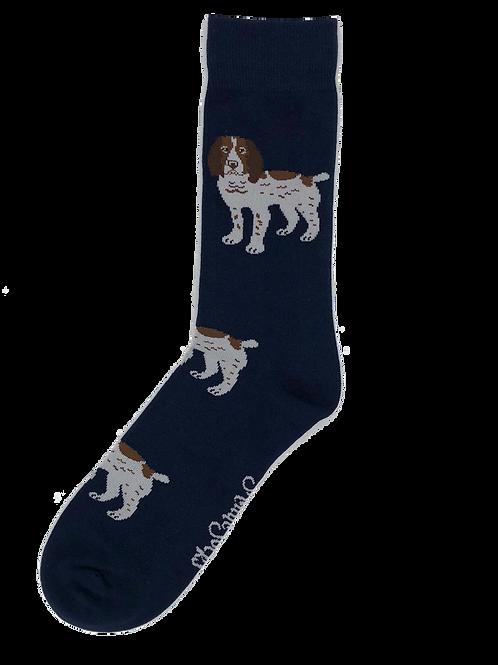 Navy Brown & White Spaniel Socks