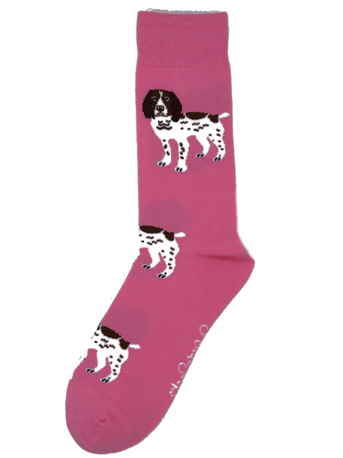 Pink Brown and White Spaniel Socks