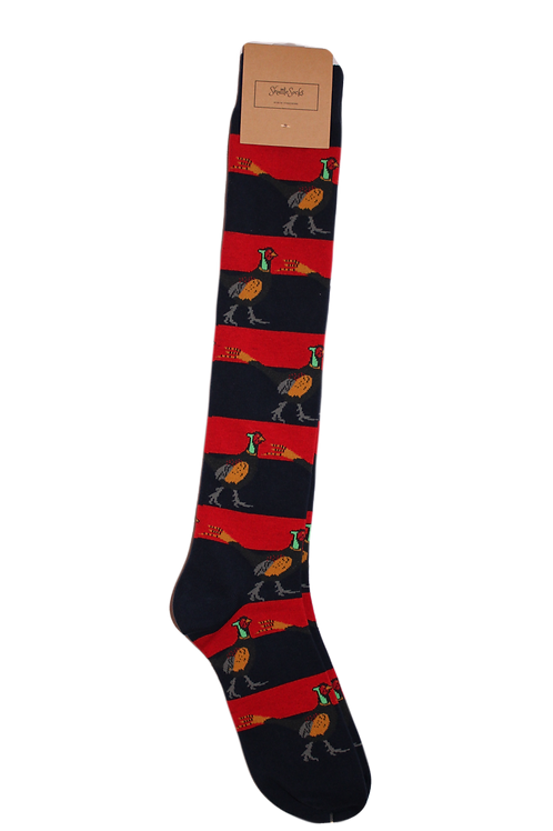 Long Red & Navy Stripe Pheasant Welly Sock