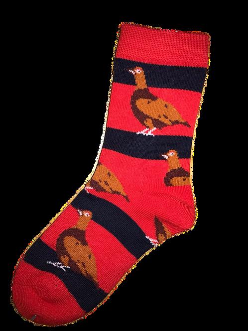 Red & Navy Kids Grouse Socks