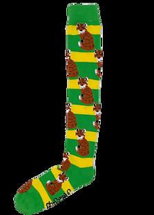 Green & Yellow Long Fox Welly Socks