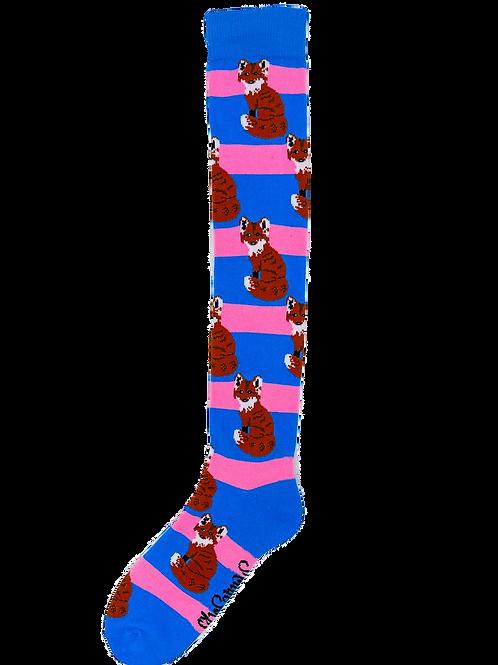 Pink & Blue Long Fox Welly Socks