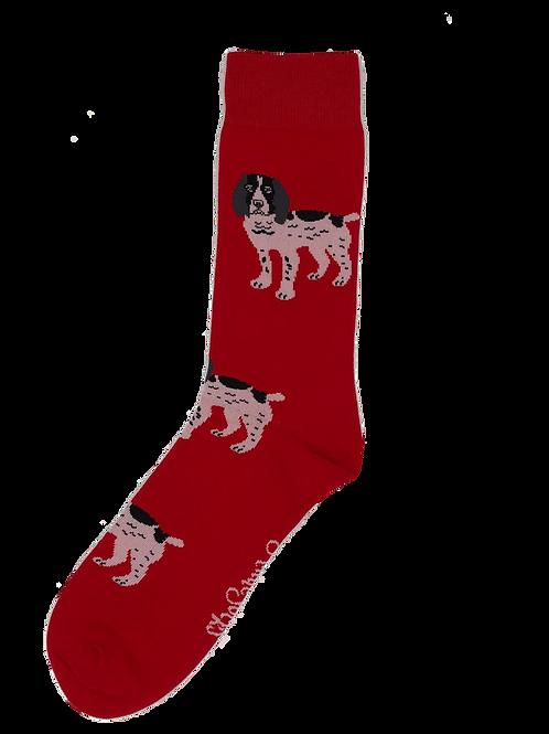 Red Black & White Spaniel Socks