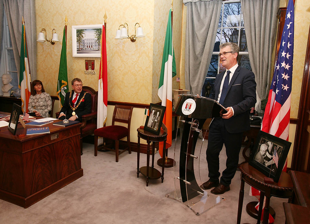 UCC Vice President, John O'Halloran speaking in the Lord Mayors Chambers at City Hall. Picture, Tony O'Connell Photography.