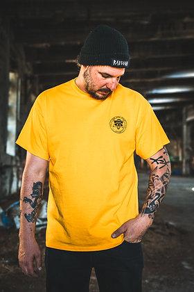 T-Shirt Raccoon Logo rund Pocketprint (yellow)