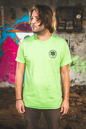 T-Shirt Raccoon Logo rund Pocketprint (green)