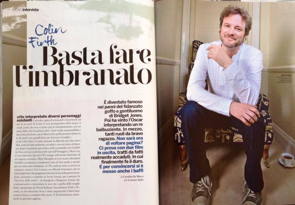 Colin Firth su Gioia