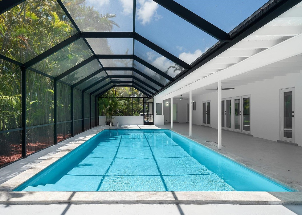 Newly Remodeled Backyard Terrace with Pool & Pool Enclousre