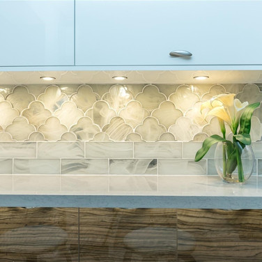 Custom, Italian-Finish Kitchen Remodel Highlighted by a Two-Tone Design & Under-Cabinet Lighting