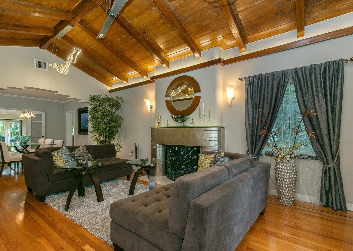 Exposed Wood Beams Florida Room