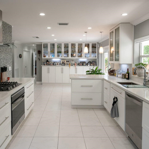 Contemporary, Open-Layout Kitchen Remodel with Accent Tile Wall & Range Hood 3