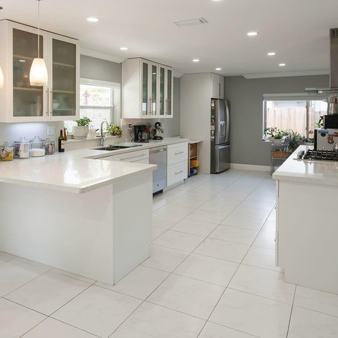 Contemporary, Open-Layout Kitchen Remodel with Accent Tile Wall & Range Hood 2