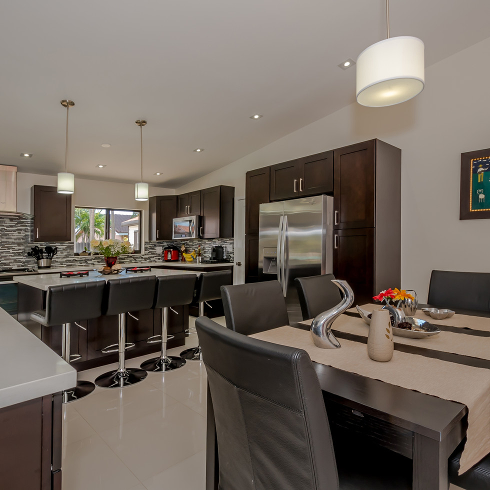 Custom, Contemporary-Style Kitchen Remodel With Chocolate-Finish Cabinetry, Solid-White Quartz & Open-Layout Concept
