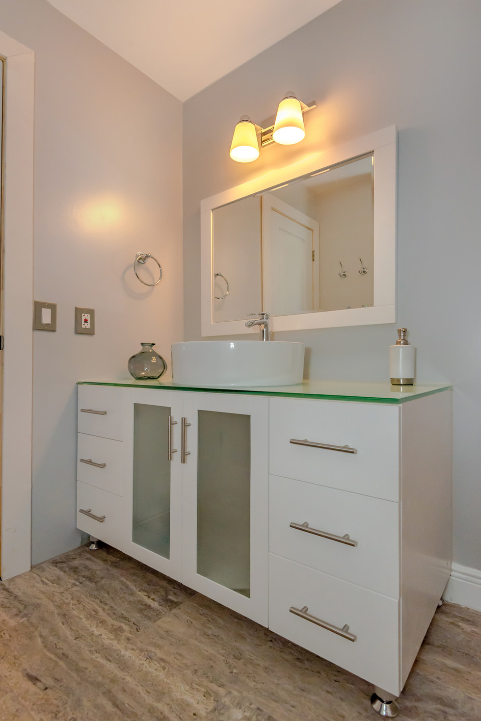 Custom Guest Bathroom Remodel with All-Wood Vanity with Above Counter Basin