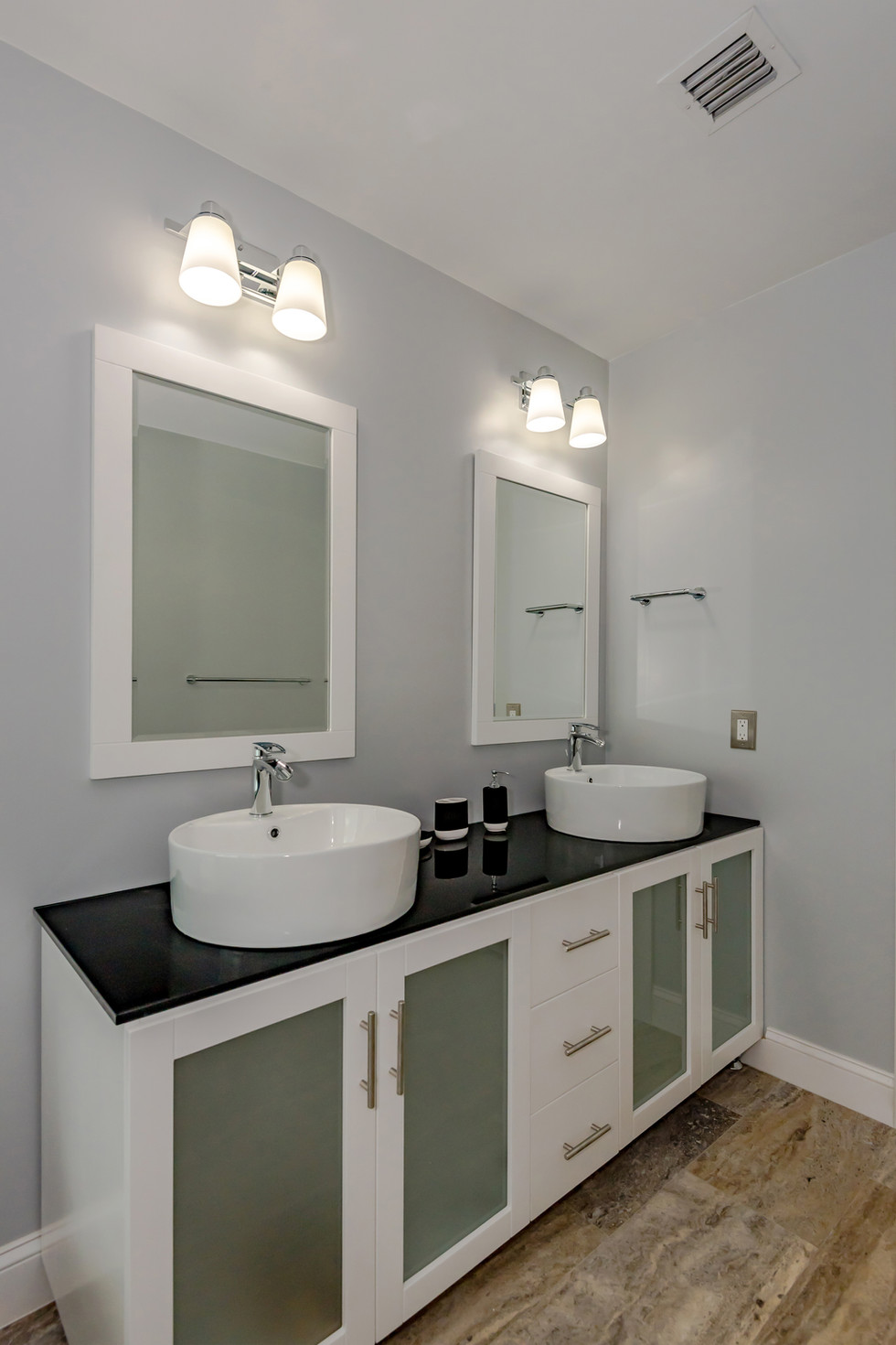 Custom Master Bathroom Remodel with All-Wood Double Vanity With Above Counter Basins