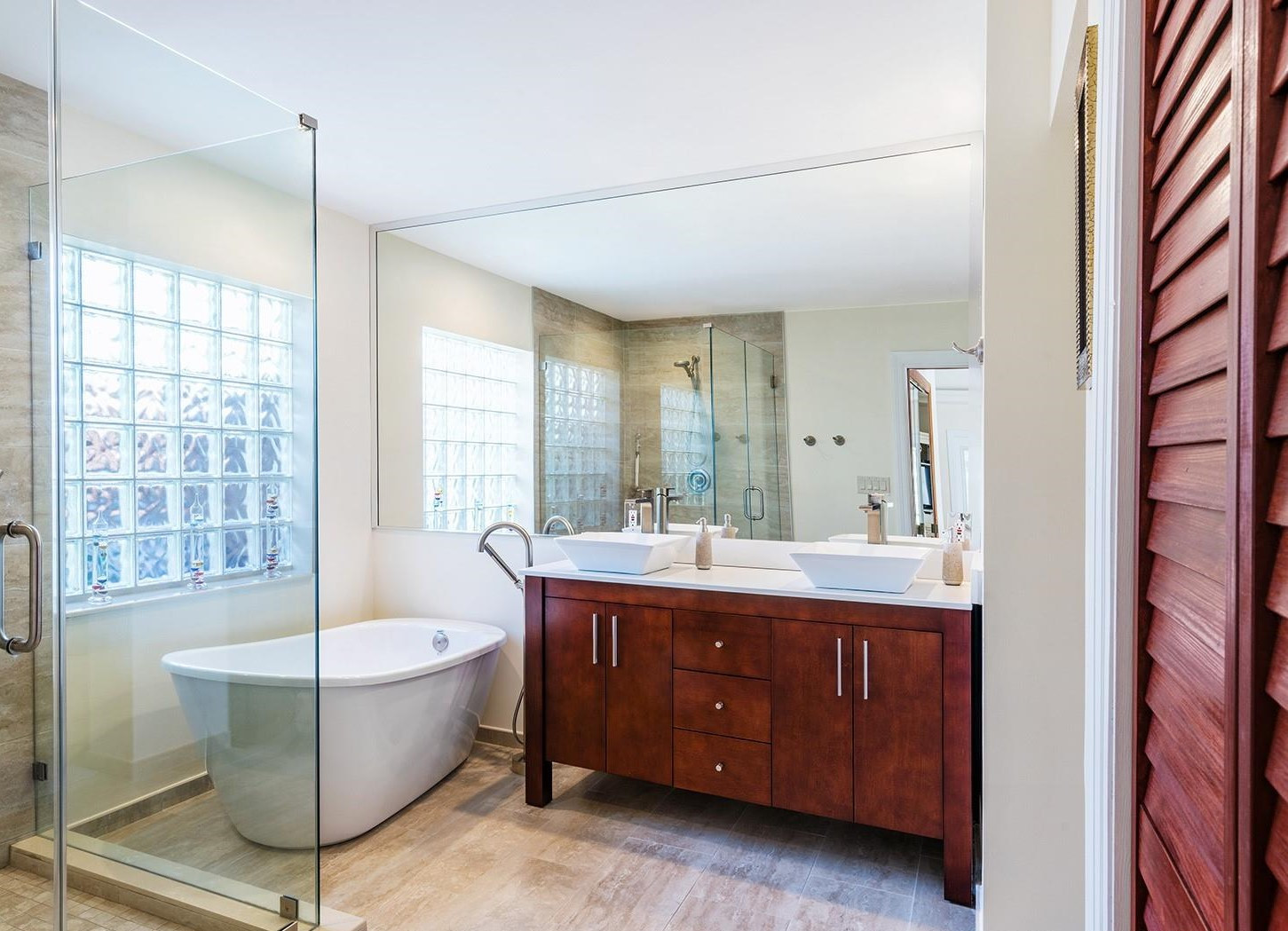 Transitional Master Bathroom Remodel Featuring Free Standing