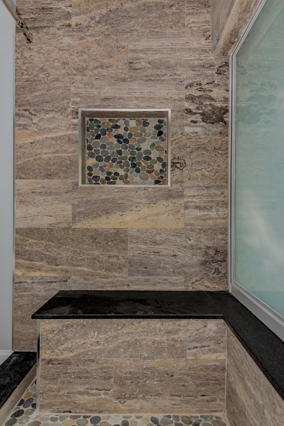 Custom Master Bathroom Remodel with Wrap-Around Shower Bench & Shower Niche 4
