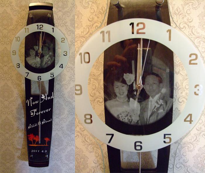 振子時計(写真彫刻)