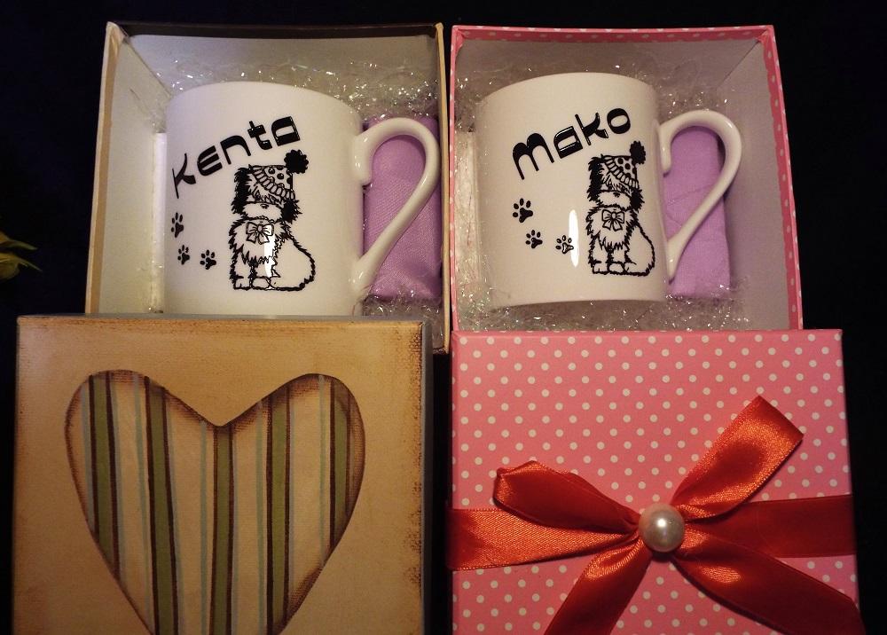 陶器ペアマグカップ