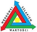 Trójkolorowy trojkąt z kółkiem. Logo konkursu