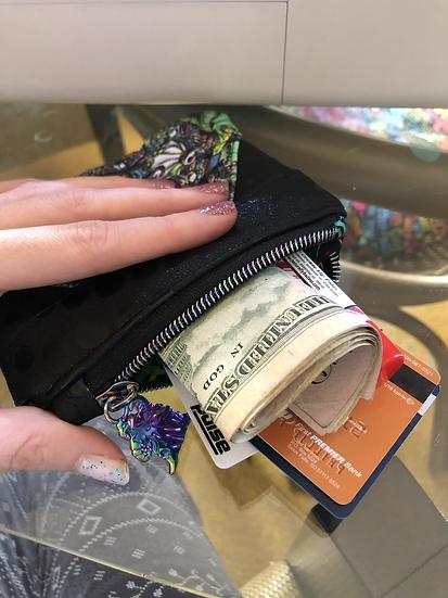 NBC coin purse gunmetal zipper reflective vinyl