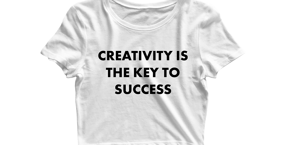 Creativity is the key cropped shirt white