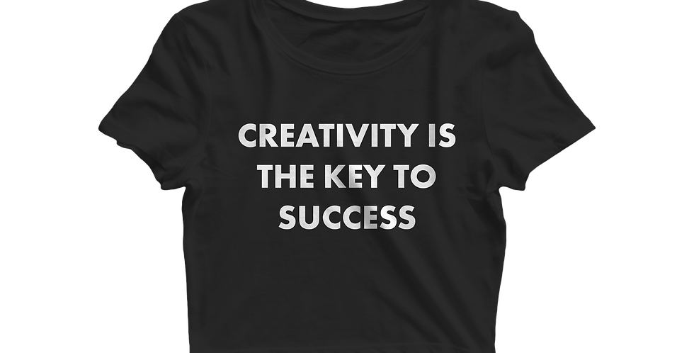 Creativity is the key cropped shirt black
