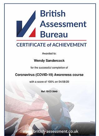 Certificate_wendy_sandercock_coronavirus