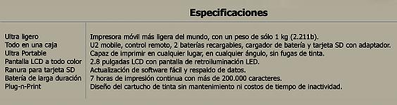 Especificaciones Anser mobile