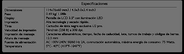 Especificaciones Anser pro