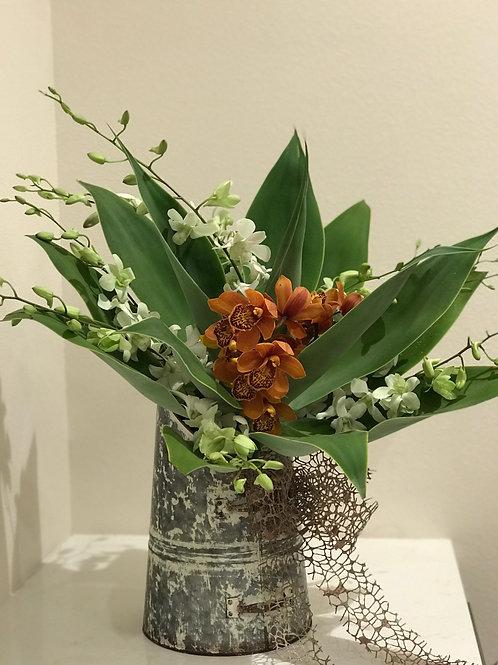 Orchid Arrangement In Metal Vase