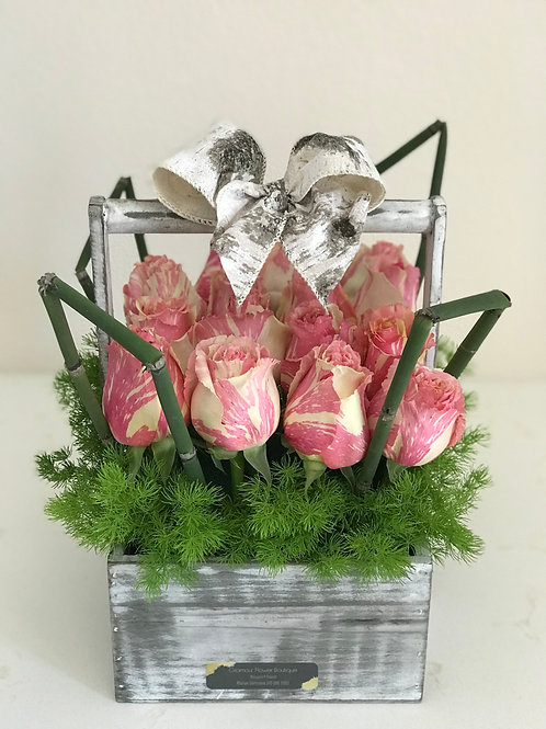 Wood Box Arrangement Roses