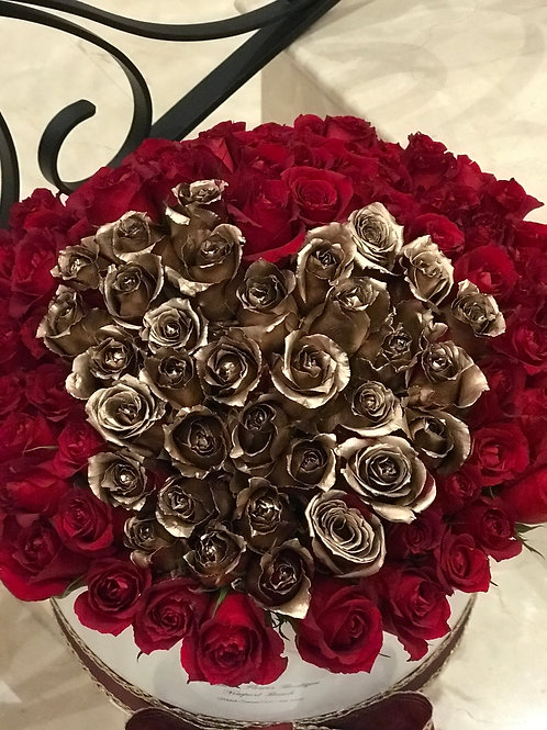 Large Box of Roses With Golden Heart